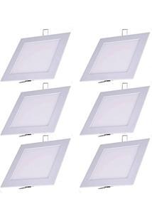 Luminária Painel Led Plafon De Embutir Quadrado 9W Branco Frio