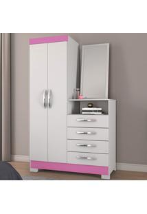 Cômoda 2 Portas 4 Gavetas Com Espelho Nt5040 Flex Branco/Rosa - Notável