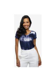 Camiseta Tie Dye Azul E Branca Feminina Sob Manga Curta