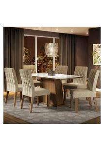 Conjunto Sala De Jantar Madesa Rafaela Mesa Tampo De Vidro Com 6 Cadeiras Marrom