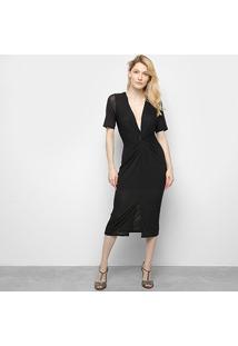 Vestido Lança Perfume Midi Com Fenda Frontal - Feminino-Preto