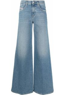 Diesel Calça Jeans Pantalona Com Efeito Desbotado - Azul