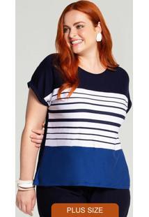 Blusa Plus Size Malha Listras Azul