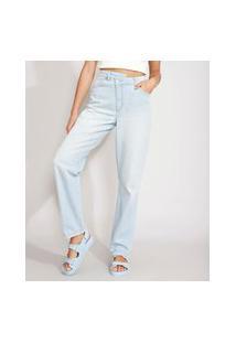 Calça Reta Jeans Cós Assimétrico Cintura Super Alta Azul Claro