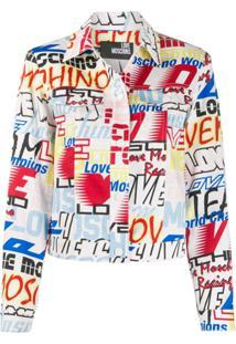 Love Moschino Jaqueta Jeans Com Estampa De Logo - Branco