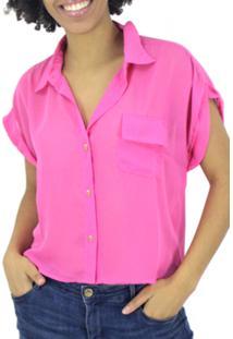 Camisa Descabida Cropped Rosa