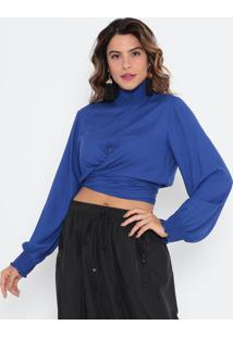 Blusa Cropped Com Amarração - Azul Escuromorena Rosa