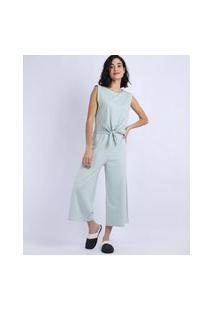 Pijama Feminino Sem Manga E Nozinho Azul Claro
