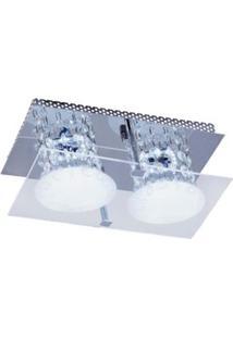 Plafon Glacial Cristal Led 15X25Cm 2X10W 220V Acrílico Jateado Com Cristais Bronzearte
