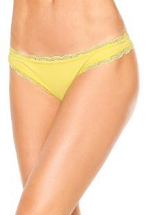 Calcinha Calvin Klein Underwear Fio Dental Básica Amarela