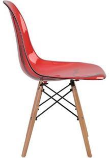 Cadeira Eames Eiffel Rivatti Sem Braço Pc Base Madeira Vermelho Translúcido