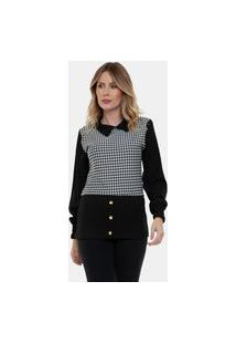 Blusa Camisa Sobreposição Fashion Ii Feminina Xadrez -Preto
