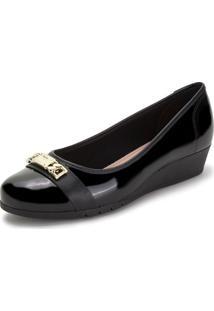 Sapato Feminino Anabela Moleca - 5156766 Verniz/Preto 38