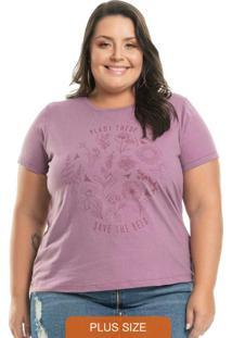 T-Shirt Com Estampa Floral Lilás