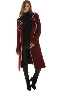 Casaco Alongado Tricã´ Bicolor Com Costura Contrastante Aha - Bordã´/Vinho - Feminino - Dafiti