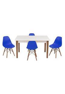 Conjunto Mesa De Jantar Luiza 135Cm Branca Com 4 Cadeiras Eames Eiffel - Azul