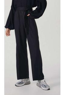 Calça Feminina Wide Leg Em Tecido De Viscose Preto