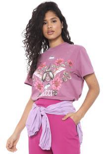 Camiseta Colcci Estampada Roxa