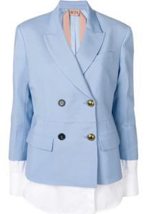 Nº21 Jaqueta Com Detalhe De Camisa - Azul