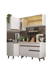 Cozinha Completa De Canto Madesa Reims 262001 Com Armário E Balcão Branco Branco
