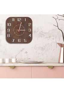 Relógio De Parede Decorativo Premium Quadrado Com Números Em Relevo Corten Médio