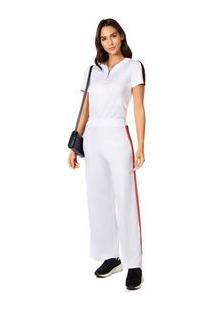 Calça Morena Rosa Pantalona Cós Alto Recorte Lateral Branco