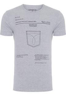 Camiseta Masculina Estampa Bolso - Cinza