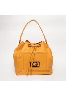 Bolsa Saco Em Couro - Amarelo Escuro- 31X45X16Cmjorge Bischoff