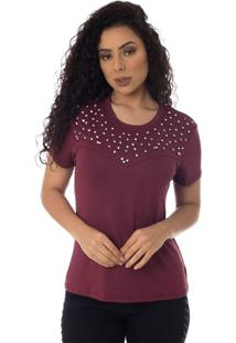 T-Shirts Daniela Cristina Gola U 05 10243 26 Roxo - Roxo - Feminino - Dafiti