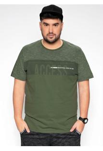 Camiseta Verde Miliar Com Estampa Plus Size