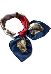 Lenço De Seda Artestore Estampa Luxo Tons De Feminino - Feminino-Azul+Vermelho