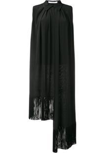 Givenchy Blusa Assimétrica De Seda Com Acabamento De Franjas - Preto