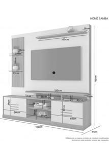 Estante Home Theater Para Tv Até 60 Polegadas 2 Portas 3 Prateleiras Jcm Móveis Rovere/Off White