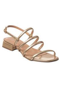 Sandália Com Tiras Saltinho Baixo Quadrado Via Birigui Dourado