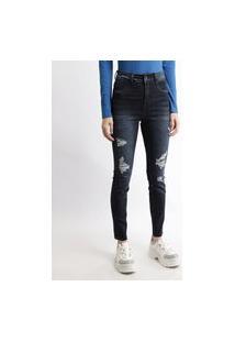 Calça Jeans Feminina Sawary Cigarrete Push Up Hot Cintura Super Alta Destroyed Azul Escuro