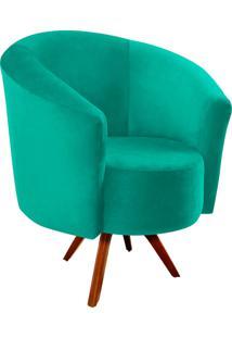 Poltrona Decorativa Angel Suede Verde Tiffany Com Base Giratória Madeira - D'Rossi