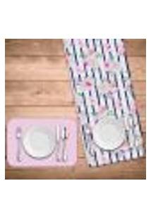 Jogo Americano Com Caminho De Mesa Wevans Floral Rose Kit Com 2 Pçs + 2 Trilhos