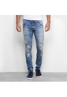Calça Jeans Skinny Biotipo Marmorizada Rasgos Masculina - Masculino