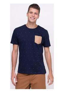 Camiseta Estampada Com Bolso Em Suede