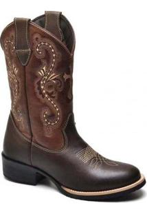 Bota Texana Country Feminina - Feminino-Cafe