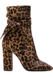Saint Laurent Ankle Boot Com Estampa De Leopardo - Marrom