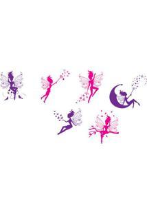 Adesivo De Parede Bailarinas- Rosa & Roxo- 70X50Cm