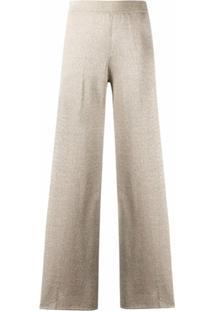 Missoni Calça Pantalona Com Cintura Alta E Efeito De Brilho - Neutro