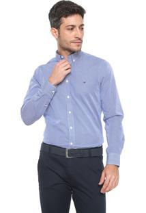Camisa Tommy Hilfiger Reta Estampada Azul