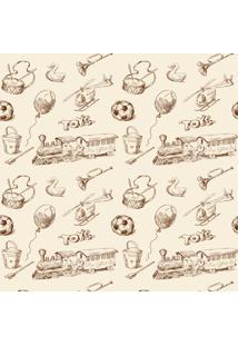Papel De Parede Quartinhos Adesivo Texturizado Brinquedos Vintage 2,70X0,57M