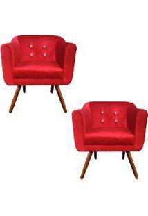 Kit 02 Poltronas Julia Cadeira Decorativa Suede Acetinado Vermelho Strass - Drossi