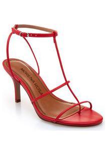 Sandalia Salto Medio Tiras Finas Vermelho