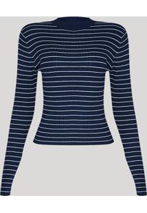 Suéter De Tricô Feminino Básico Listrado Decote Redondo Azul Marinho