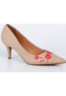 Scarpin Feminino Bordado Floral Vizzano 1185148