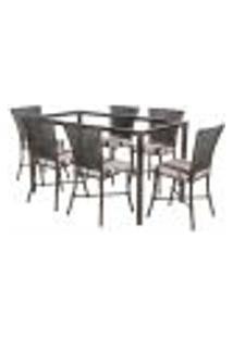 Jogo De Jantar 6 Cadeiras Turquia Tabaco A23 E 1 Mesa Retangular Sem Tampo Ideal Para Área Externa Coberta